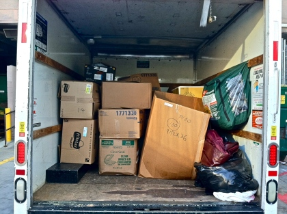 Ramona Howland, Sr Manager of Workplace Environment, and myself rented a 10ft U-Haul and spent the afternoon collecting all of the coats from area Atlanta Marriott and Ritz-Carlton Hotels