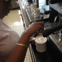 Jennifer Making Cappuccino