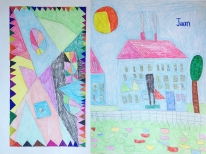 Juan (Bronx Day Habilitation program) is inspired by Picasso, homes, and geometric patterns.