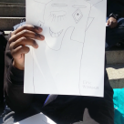 Eric (Bronx Day Habilitation program) draws inspiration from our visit to the Metropolitan Museum of Art. We had our art session on the steps of the Met. Everyone drew items from the museum that inspired them. This field trip was an opportunity to explore other artist's work and open a dialogue about art.