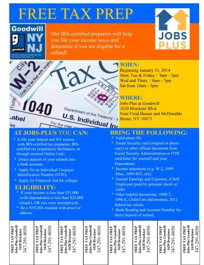 JobsPlus Tax Flier