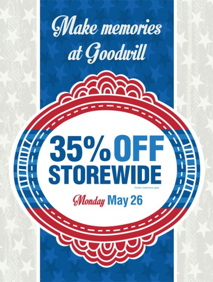 35% off storewide Monday May 26