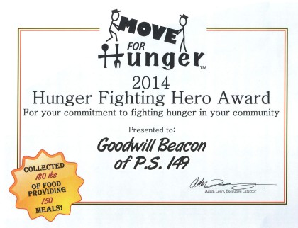 Move for Hunger Certificate