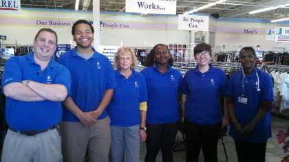 Shante Purcell and Naomi Owens came to Goodwill as interns from a Back to Work Program and were hired after completing retail training . from left to right (Sal Ciniglio-Store Manager, Utori Bowers-Third Key, Christine Acerno, Shante Purcell, Kimberly Ponton- Third key, Naomi Owens)