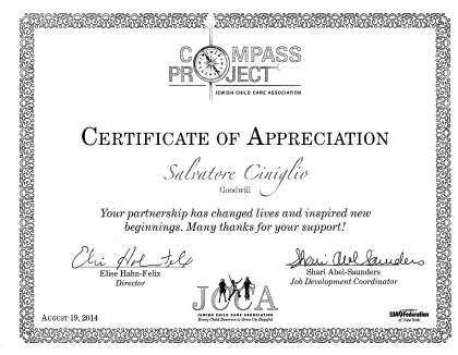 Ciniglio and Goodwill Certificate of Achievement